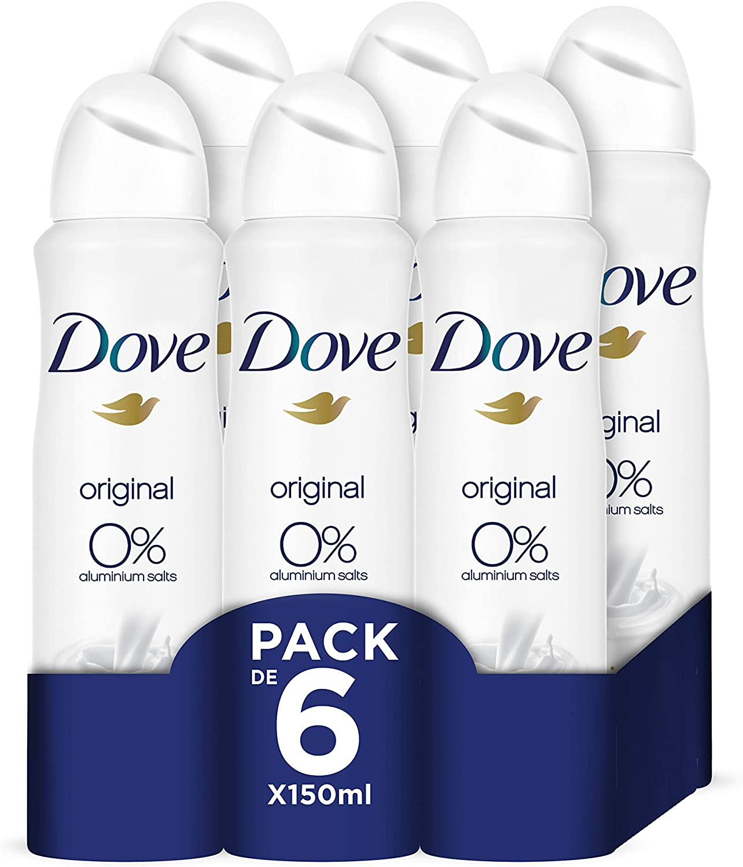 Dove Original Desodorante, 0% aluminio- Pack de 6 x 150 ml - Total: 900 ml
