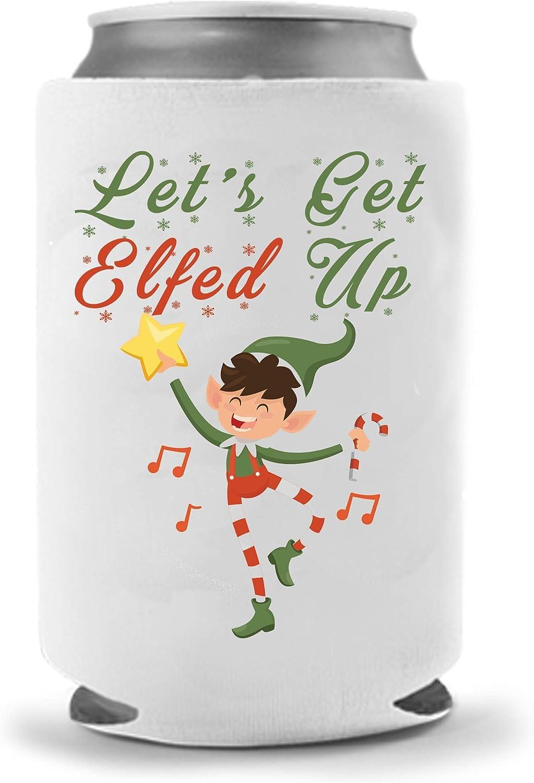 Crude Holiday Elfed Up Coolie | Beer Funny Stocking Stuffer - Holidays Christmas Gift | Funny Novelty Coolie Huggie | Beverage Holder - Beer Gifts - Quality Neoprene Beer Can Cooler (Elfed Up)