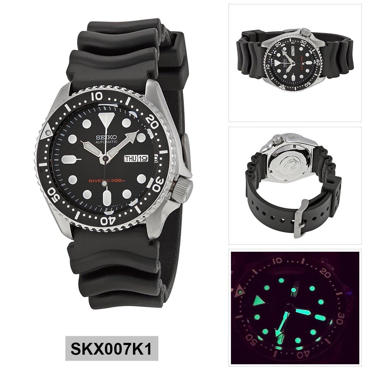 Seiko Divers Skx007k1 Mens Automatic Wristwatch Watches Skx007k2 200m Black Dial