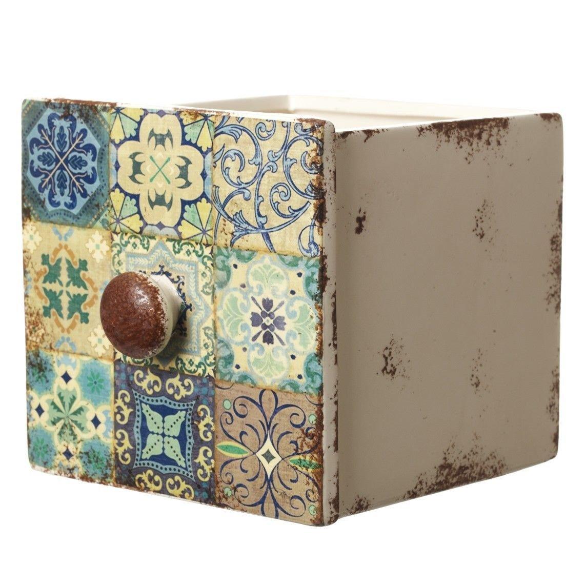 Unbekannt Bezaubernder großer Übertopf Marokko in Form Einer Schublade 17 x 15 x 14 cm Heaven Sends