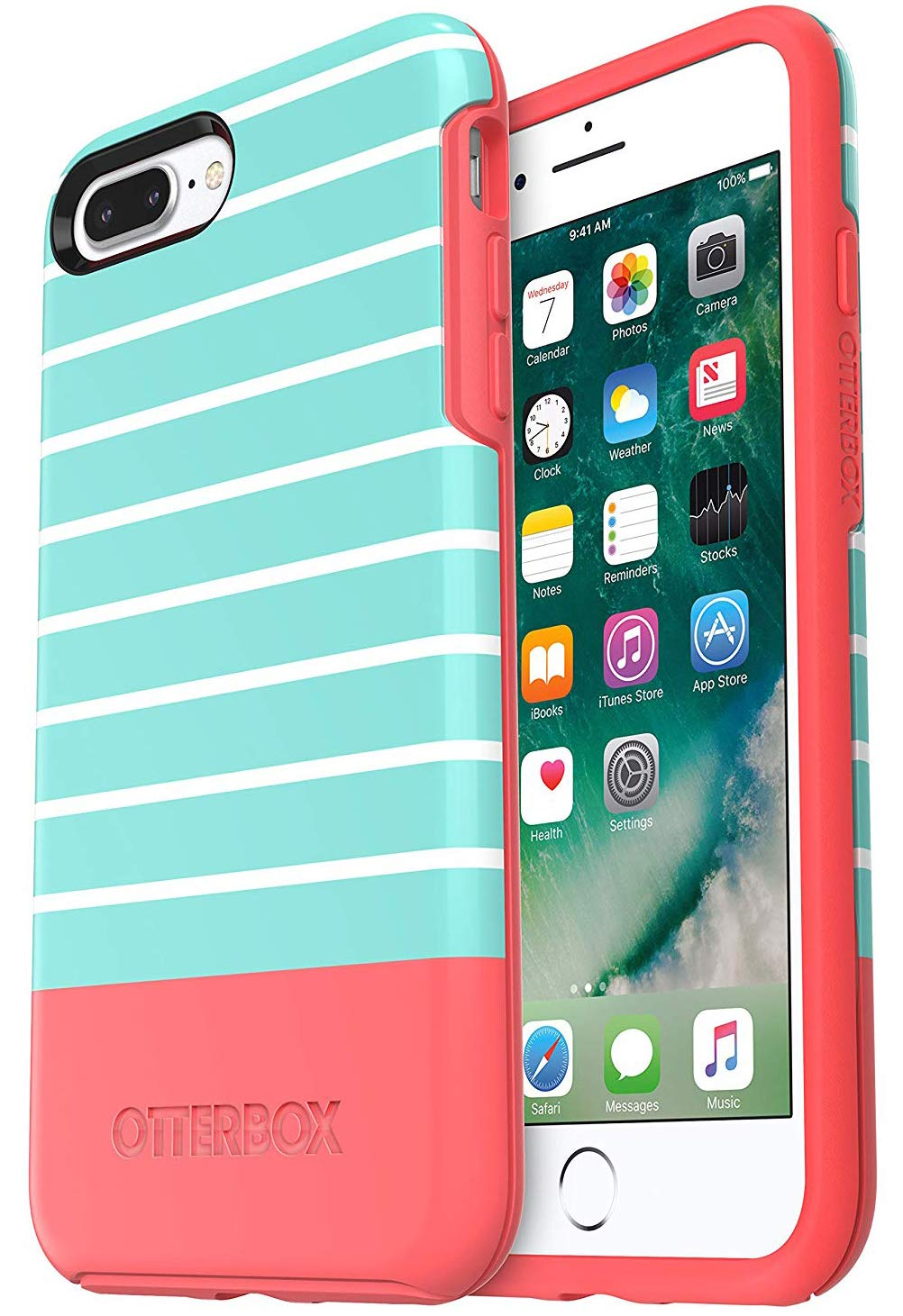 OtterBox Symmetry Series Case for iPhone 8 Plus & iPhone 7 Plus - Non-Retail Packaging - Aqua Mint DIP by OtterBox (Image #1)