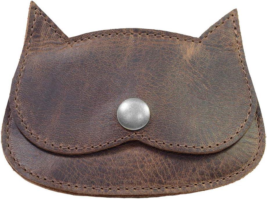Hide & Drink, Leather Cat Wallet, Coin Organizer Pouch, Cash Holder, Credit Card Storage, Travel & Commuter Accessories, Vintage Style, Handmade Includes 101 Year Warranty :: Bourbon Brown
