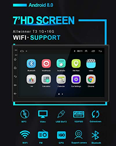 WeniChen 7 HD Touch Screen GPS Navigation USB 2 Din Ultra Thin Car Stereo Universal Car Multimedia MP5 Player Built in WiFi Bluetooth Mirror Link 1GB RAM 16GB ROM Quad Core Android 8.0 No AM