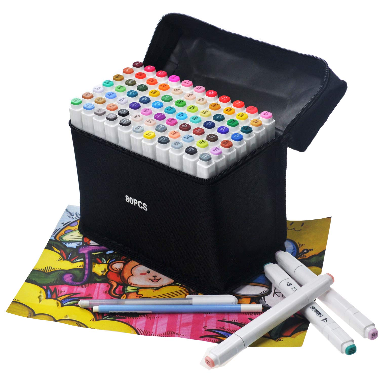Ugui 80 Colors Marker Set Manga Pens Set Double Tip Graffiti Pens for Student Art Artist Design School Drawing Art Supplies