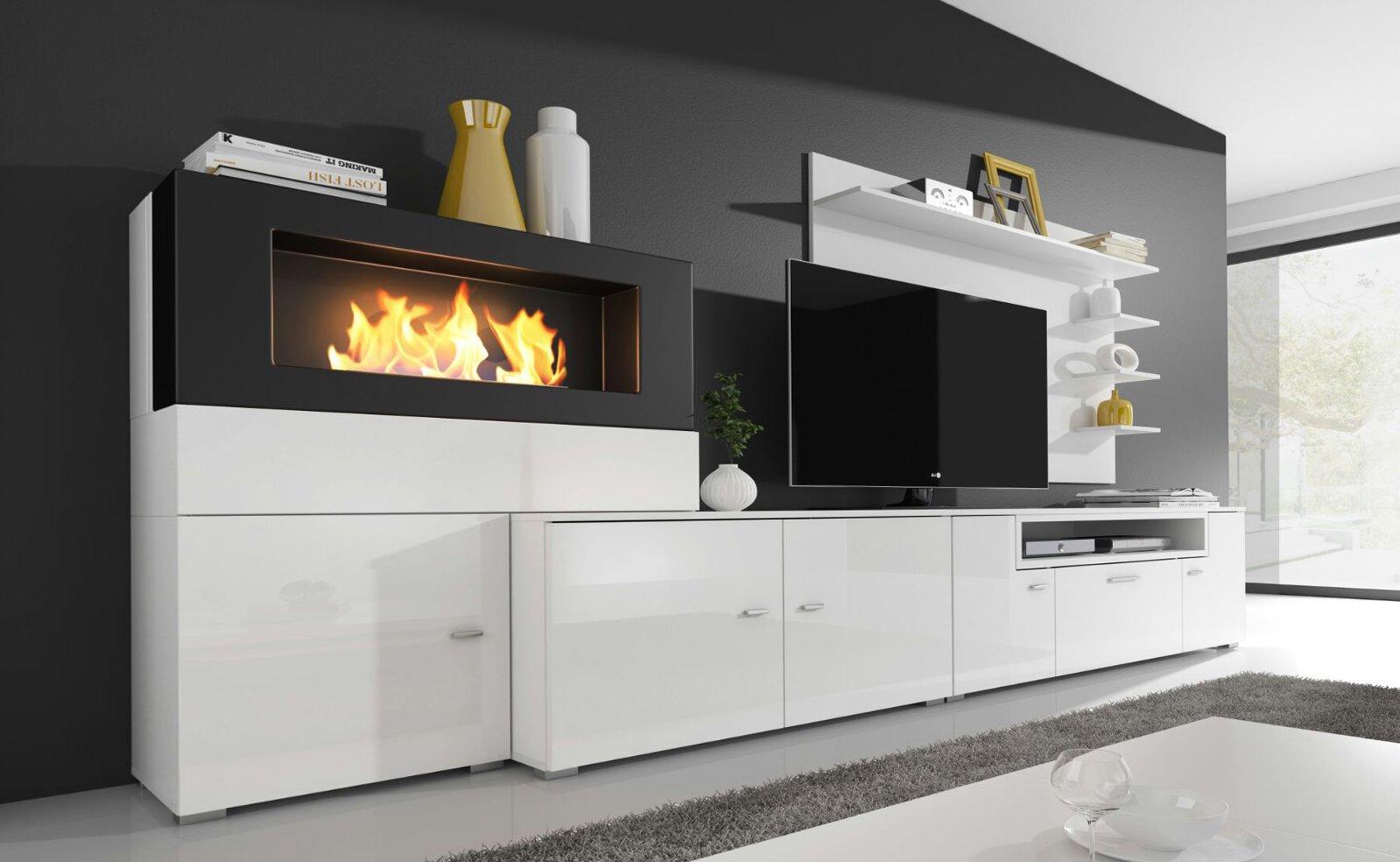 home innovation moderne wohnwand tv lowboard esszimmer mit kamin bioethanol schrankwand