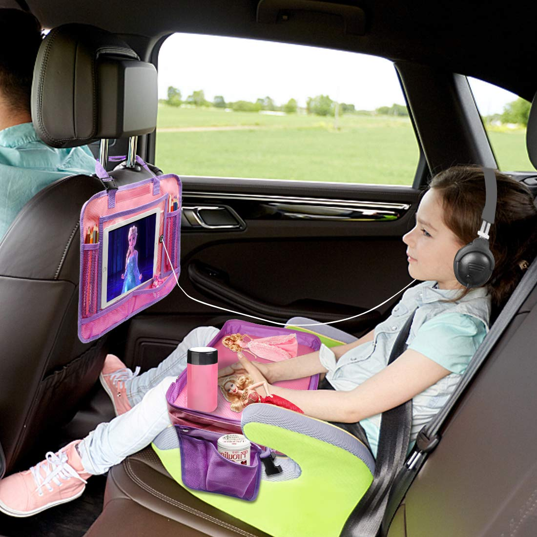 """Backseat Storage Organizer Pink 17/""""x13/"""" Snacks and Play -Great for Activity Kids Travel Tray-4 in 1 Car Seat Travel Play Tray Carry Bag and iPad /& Tablet Holder All in One-Toddlers Lap Tray"""