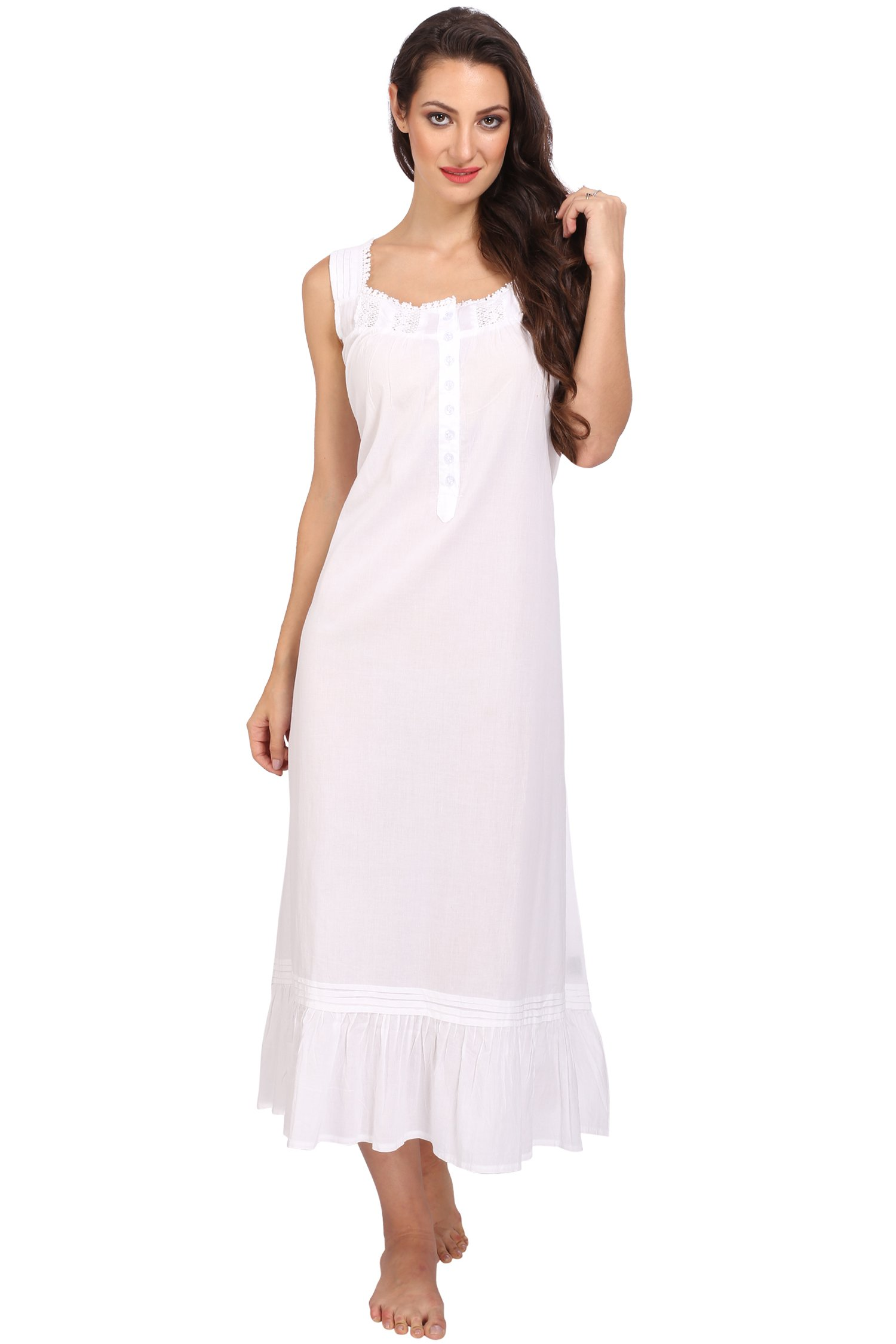 Miss Lavish Victorian Style Nightgown Sleeveless Long Sleepwear Women Cotton Plus Size Vintage Nightdress