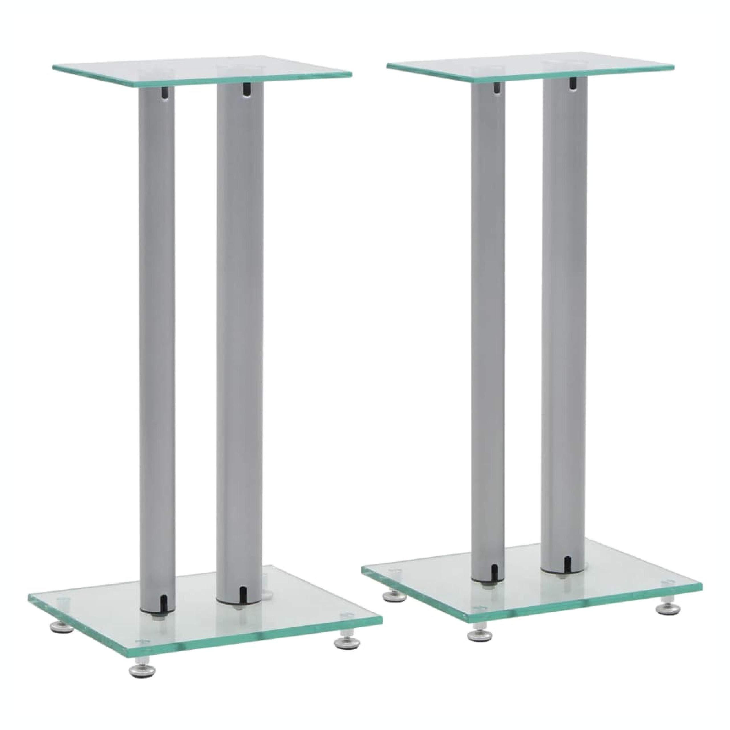 HomyDelight Speaker Stand & Mount, Speaker Stands 2 pcs Tempered Glass 2 Pillars Design Silver by HomyDelight
