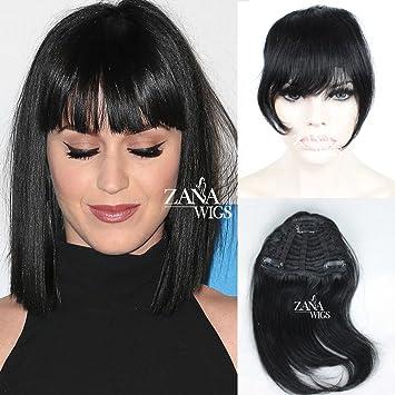Amazon Com Brazilian Human Hair Clip In Bangs Full Fringe Short