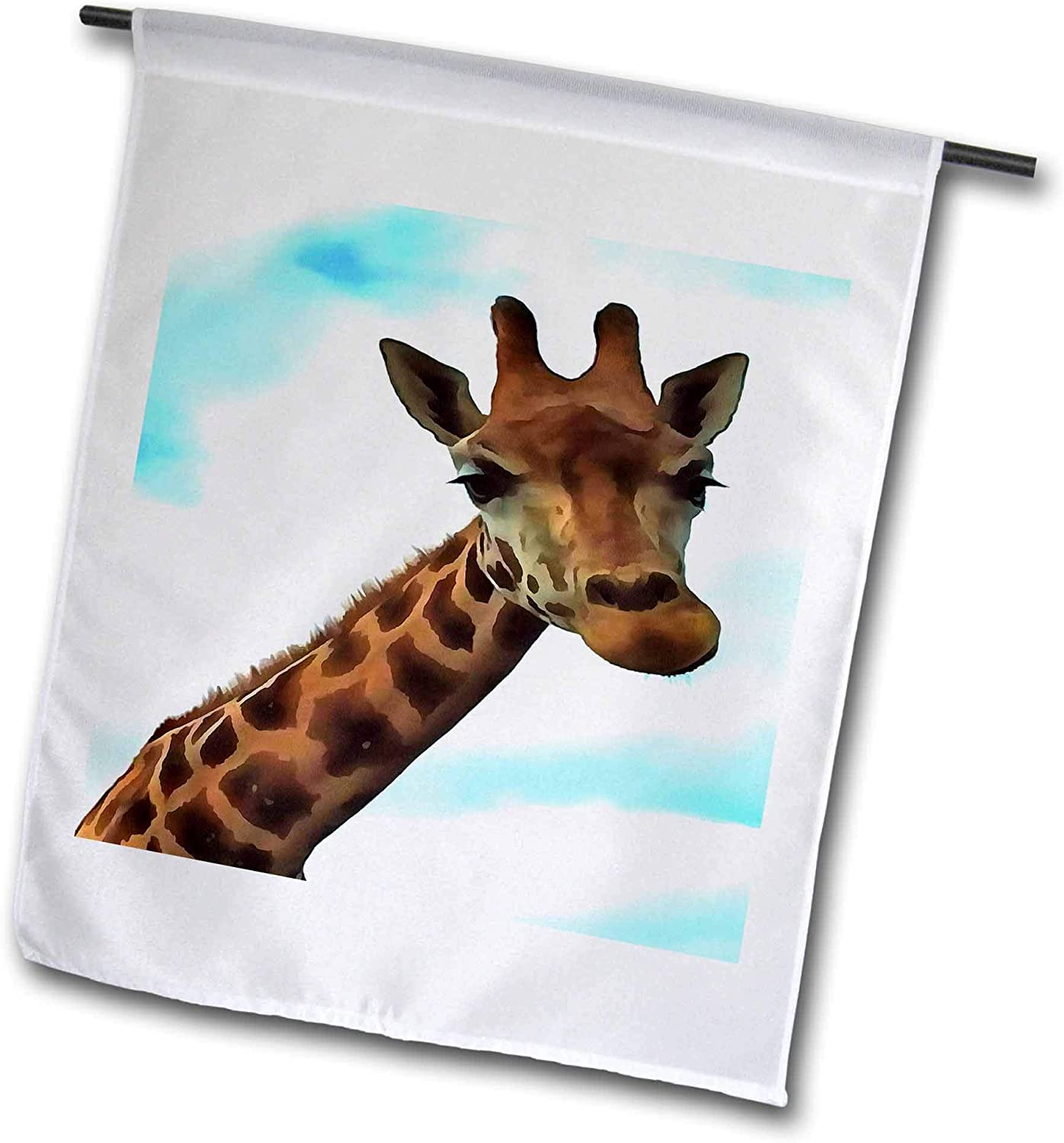 3dRose Taiche - Acrylic Painting - Giraffe - Hello Up There Fun Giraffe with Nerdy Expression - 12 x 18 inch Garden Flag (fl_299357_1)