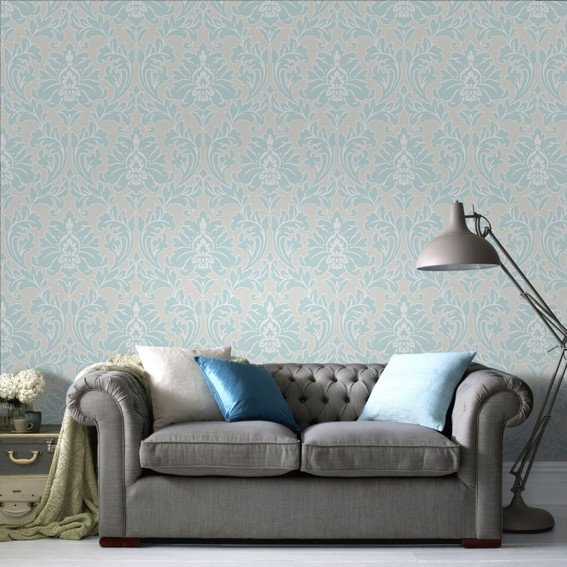 Superfresco Easy Paste the Wall Majestic Damask Print Duck Egg ...
