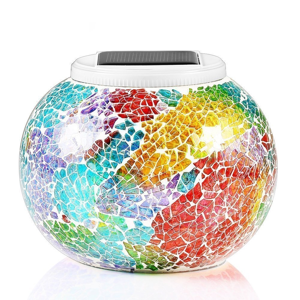Solar Jar Table Lights, Kasi Color Changing Solar Powered Crackle Glass Ball Garden Lights, Waterproof Rechargeable LED Night Lights for Home Party Patio Lawn Christmas Festival Outdoor Indoor Decor