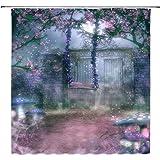 AMNYSF Fairy Garden Fabric Shower Curtain Fantasy Gate Spring Flowers Swing Blue Mushrooms Fog Nature Scenery Decor…
