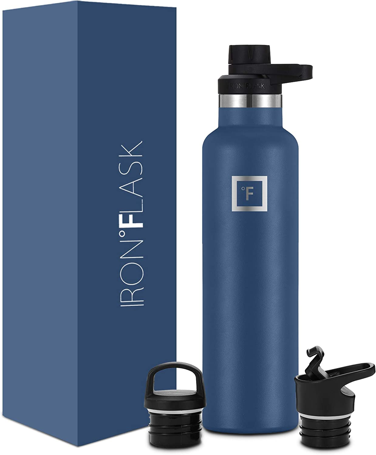 IRON °FLASK Sports Water Bottle - 12oz,16oz,20oz,24oz,32oz,64oz, 3 Lids (Spout Lid), Vacuum Insulated Stainless Steel, Hot Cold, Modern Double Walled, Simple Thermo Mug, Standard Hydro Metal Canteen