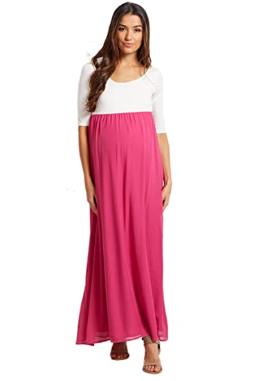 afae34cac5628 PinkBlush Maternity Magenta Chiffon Colorblock Maternity Maxi Dress, Small
