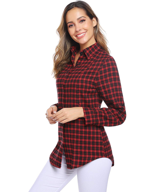 Hawiton kvinnor rutig tröja långärmad knapp ner pläd flanellskjortor casual pojkvän blus toppar med fickor Red/Small Plaid