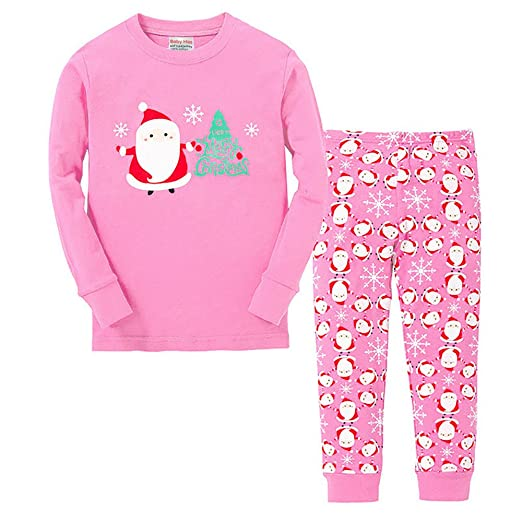 6828ff6b82 Vingi Little Girls Christmas Pajamas Set Children Santa Claus PJS 100%  Cotton (Size 3T