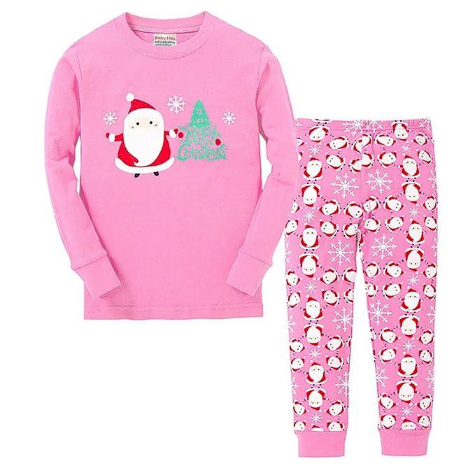 ca15d56117 Vingi Little Girls Christmas Pajamas Set Children Santa Claus PJS 100%  Cotton (Size 3T