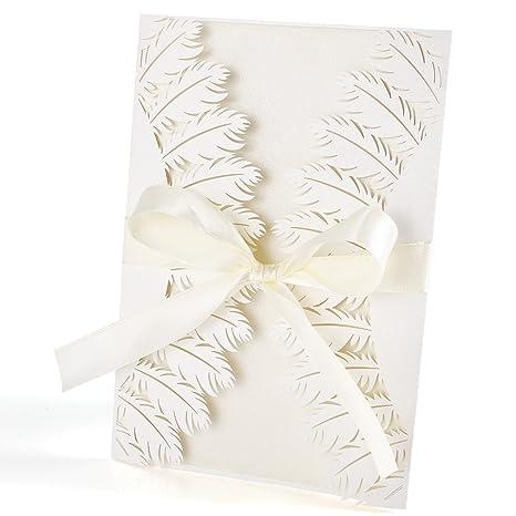 10 x Strauss Feder Einladungskarten Grußkarten mit Umschlag Hochzeit Einladung