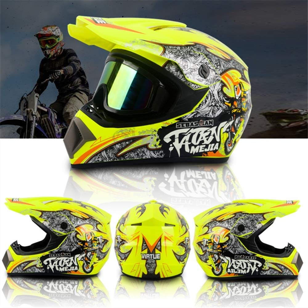 Certifi/é Dot Casque Moto Cross Casques ATV Velo Quad Enduro Scooter Femme Homme MRDEAR Graffiti//Jaune Casque de Motocross Enfant Adulte Casque VTT Integral//Gants//Goggle//Masque