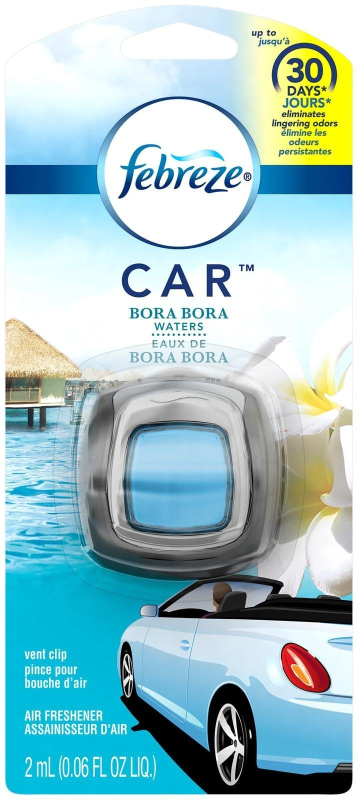 Febreze Car Air Freshener Bora Bora Waters (1 Count, 0.06 Oz)