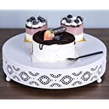 URANMOLE Cake Stand Round Metal Cake Stands Dessert Display Cupcake Stands,White (038-White-12in)