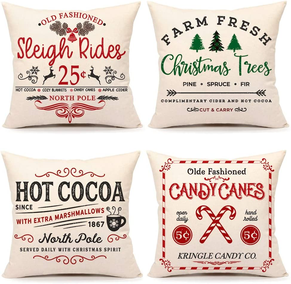 4TH Emotion Rustic Christmas Farmhouse Throw Pillow Cover Winter Holiday Cushion Case for Sofa Couch 18 x 18 Inches Cotton Linen Set of 4