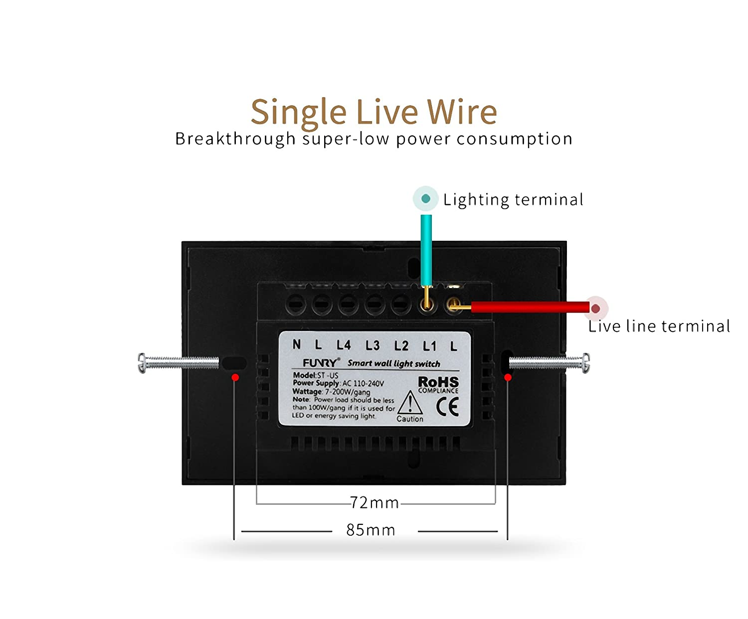Funry Smart Touch Wall Light Switches 110 240v Us Standard White Wiring Diagram Switch With Rf Remote Controller St2 1gang