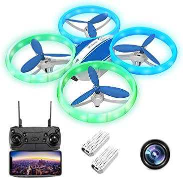Opinión sobre EACHINE E65HW, Drone con Camara 1080p HD para Niños Adultos, WiFi en Real FPV Trayectoría de Vuelo Batería Módula 3 Velocidades 360°Giros Sensor de Gravedad una Tecla de Retorno (Azul (2 Baterías))
