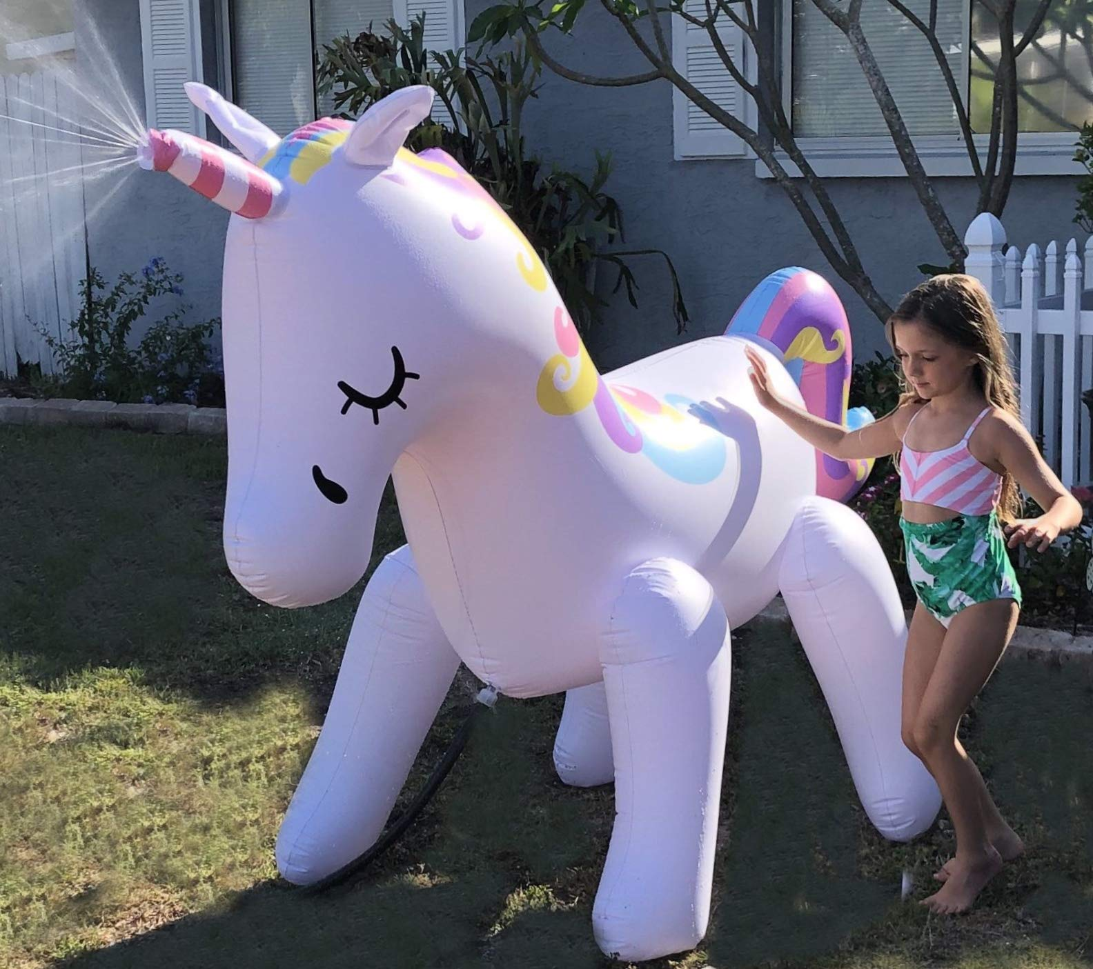THE ORIGINAL UNICORN SPRINKLER Toy - Giant Inflatable Unicorn Sprinkler for Kids Adults - Great Outdoor Birthday Party… 7