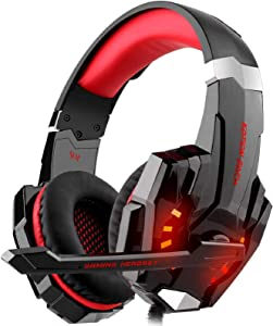 GALOPAR Gaming Headset Compatible for PC, PS4, Xbox One Controller, Headset with Noise Canceling Mic & LED Light, Bass Surround, Soft Memory Earmuffs for Laptop Mac Nintendo PS3