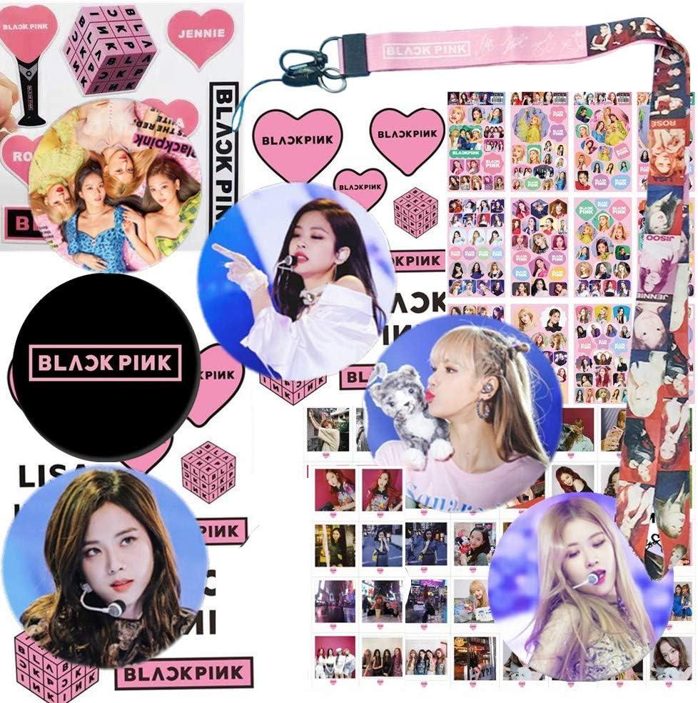 1 Lanyard 40 Stickers 1 Standing Figure 54 LOMO Cards SuperSilk Kpop BTS Blackpink Gifts Set 1 Hand Banner 1 Notebook