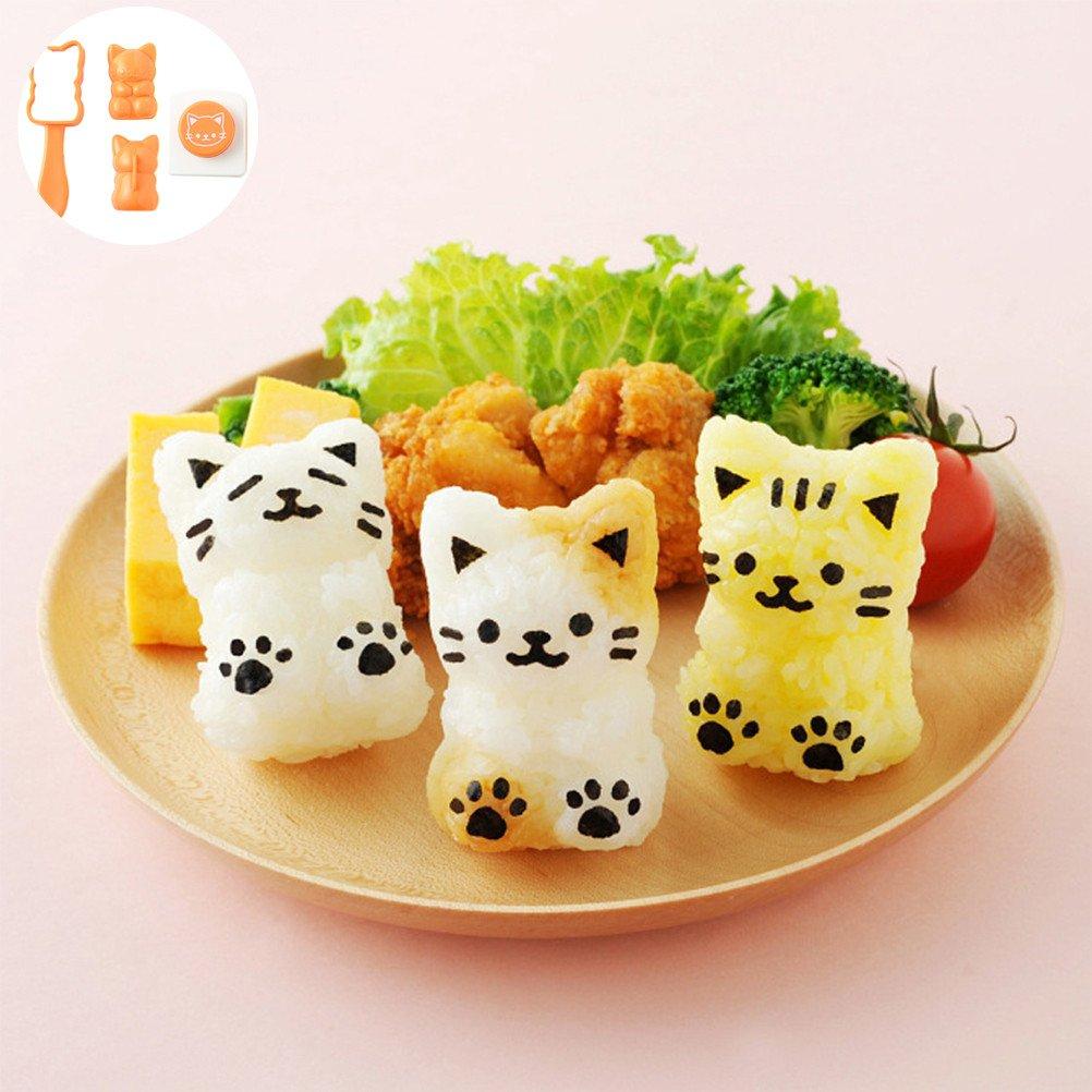 OUNONA Molde de arroz Onigiri Maker Shaper Molde Forma de gato Molde de sushi con algas asadas Repujadores DIY Kitchen Tool Set