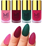 MI Fashion Nail Paint Set Baby Pink, Mauve, Dark Green, Pink Dull Matte Nail Polishes Combo Set of 4 Pcs 9.9ml each