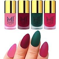 MI Fashion Nail Paint Set Baby Pink, Mauve, Dark Green, Pink Dull Matte Nail Polishes Combo Set of 4 Pcs 9.9ml each