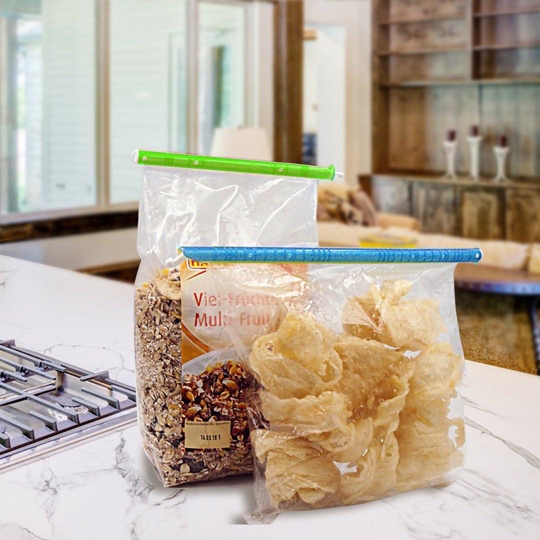 Pack de 24 mantenga las bolsas herm/éticas y alimentos frescos colores surtidos CRIVERS Clips para selladores de bolsas de alimentos con diferentes tama/ños