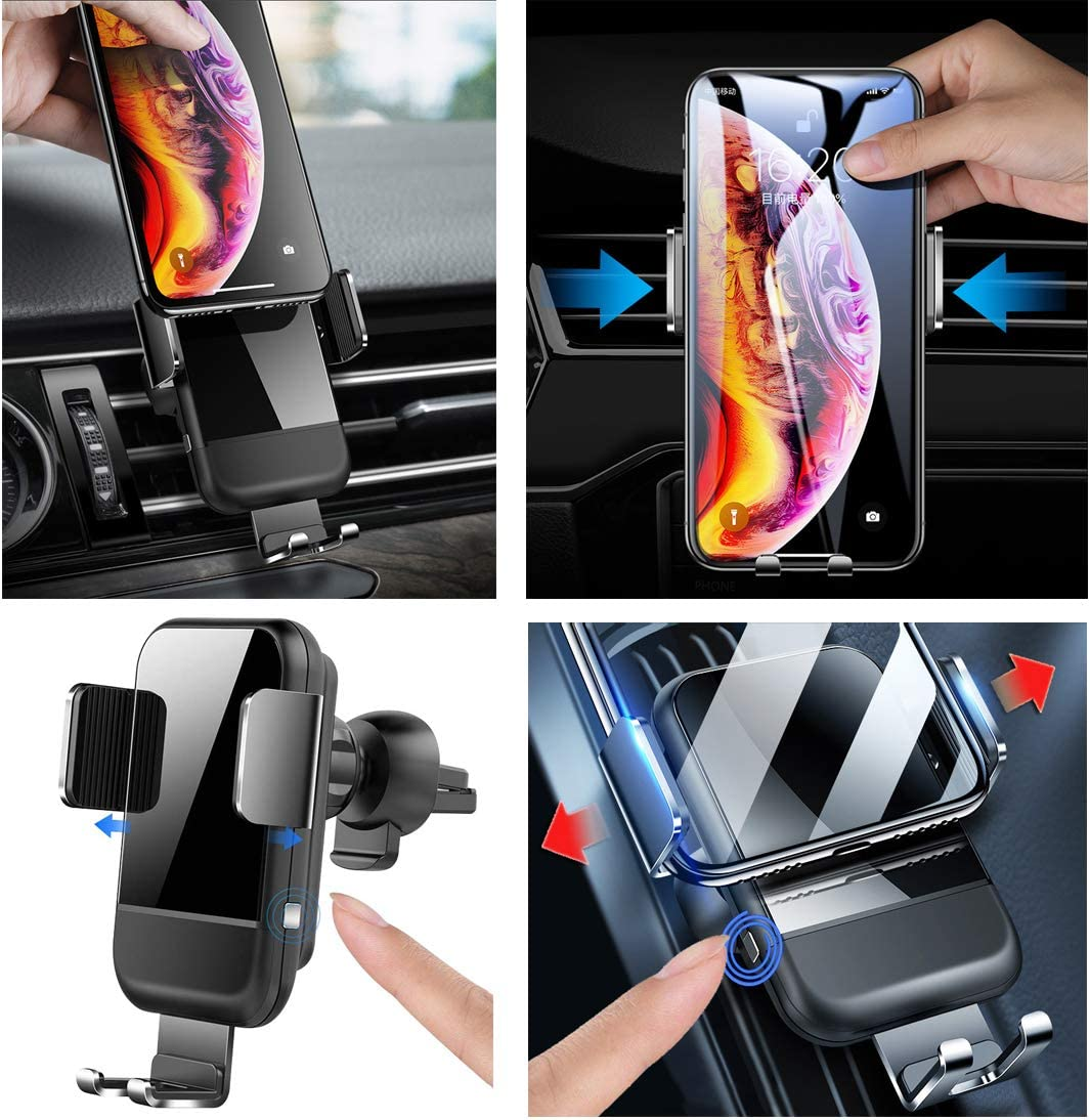 Compatible with Samsung Galaxy Note 9//8// S9// S8,iPhone Xs Max//XR//X 8//8 Plus Wireless Car Charger Adjustable Gravity Car Vent Phone Mount Vertical Horizontal Qi Fast Charging Auto-Clamping