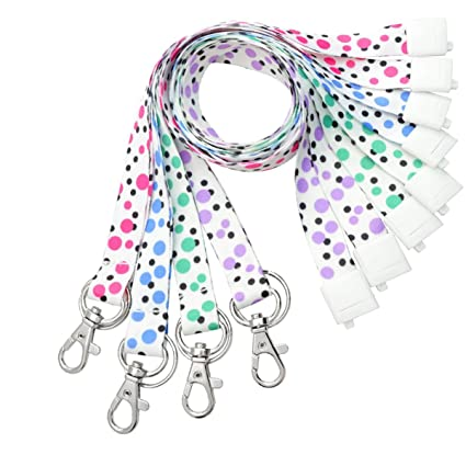 4 Pack - Cute Polka Dot Fashion Lanyard for ID Badges & Keys - Features  Keychain and Trigger Snap Hook ID Clasp - Soft Feel and Safety Breakaway by