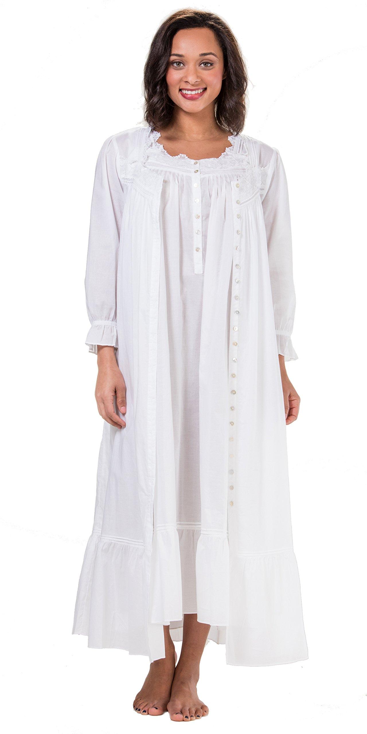 Eileen West Sleeveless Cotton Lawn Peignoir Set - Country White (White, X-Large)