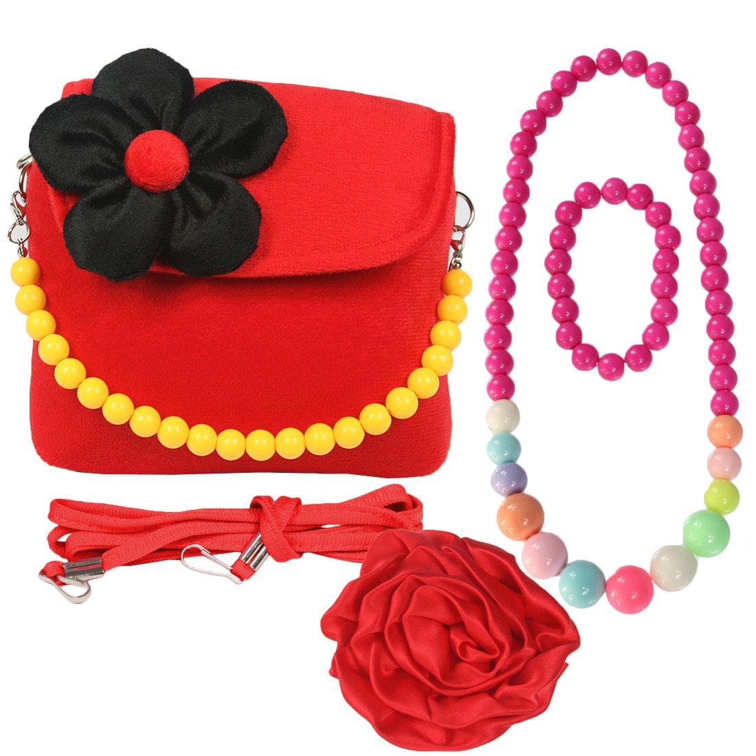 Kilofly, borsetta in peluche per bambini + molletta per capelli con grande rosa + collana + bracciale rosso AWP409DRED