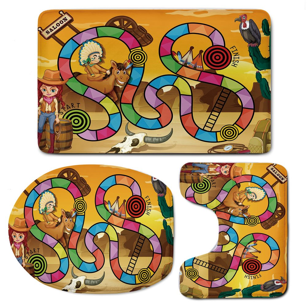 3 Piece Bath Mat Rug Set,Board-Game,Bathroom Non-Slip Floor Mat,Wild-West-Concept-Country-Landscape-Cowgirl-America-Cactus-Childrens-Nursery-Decorative,Pedestal Rug + Lid Toilet Cover + Bath Mat,Multi