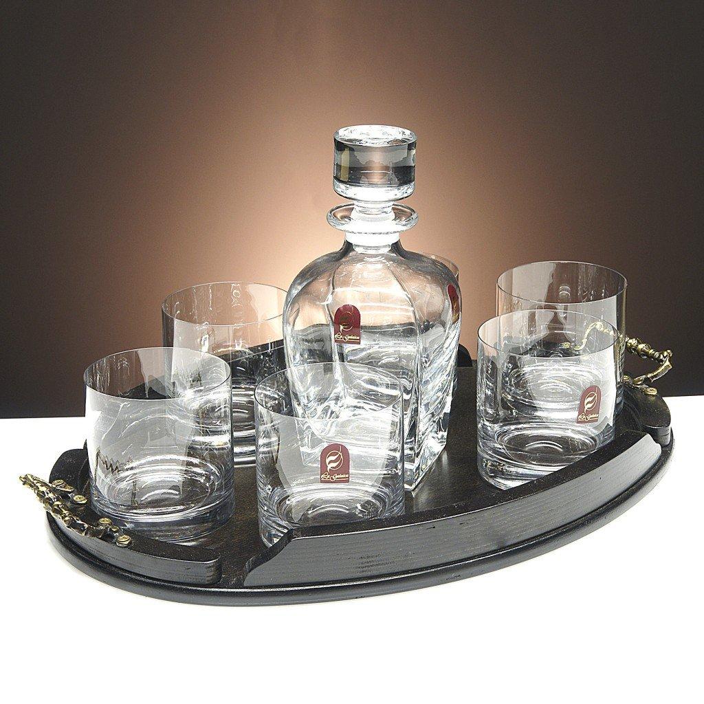 Set/Estuche de 6 Vasos Bajos de Cristal para Whisky o Agua + Botella de Cristal + Bandeja de Madera Color wenge Ovalada, colección 000