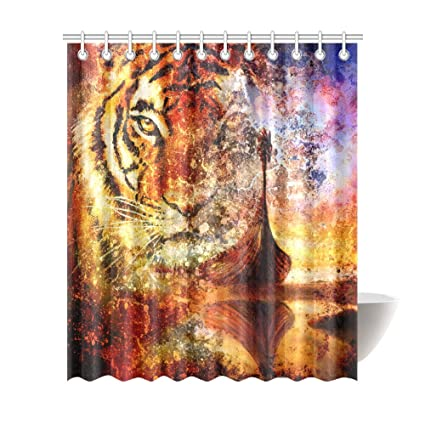 Image Unavailable Not Available For Color InterestPrint Shower CurtainMulticolored Tiger Polyester Fabric Print