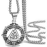 Elfasio Stainless Steel Pendant Necklace Mens Valknut Scandinavn Odin Symbol Norse Viking Chain