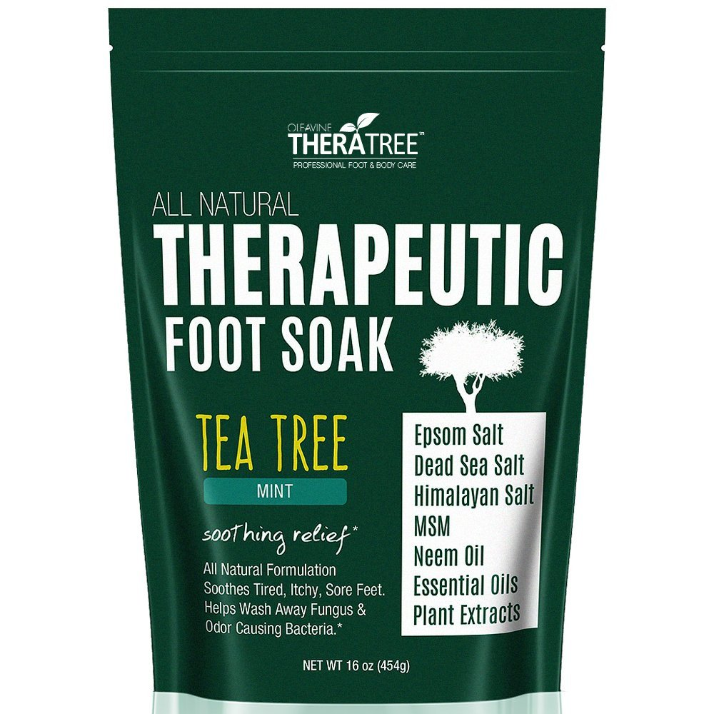 Tea Tree Oil Foot Soak with MSM, Neem & Epsom Salt 16oz - Helps Fight Foot Odor and Common Causes of Skin Irritation by Oleavine TheraTree