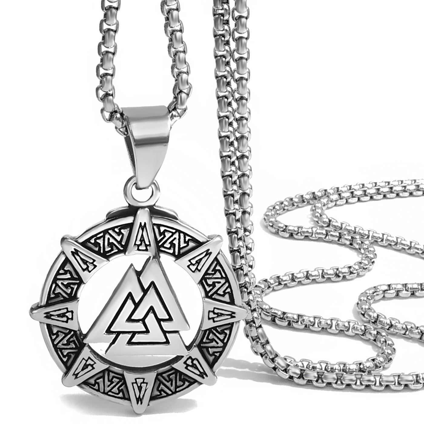 JEWLUXURY Jewelry Stainless Steel Celtic Knot Irish Triquetra Trinity Pendant Necklaces with Gift Box