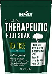 Tea Tree Oil Foot Soak with MSM, Neem & Epsom Salt 16oz - Helps Fight Foot Odor and Common Causes of Skin Irritation by Oleavine TheraTree