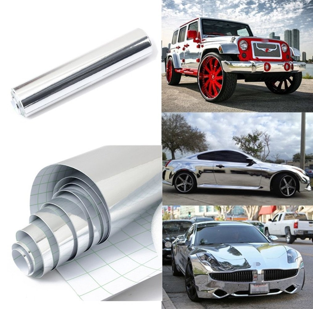 REDODECO self-Adhesive Mirror-Like Reflective Chrome Silver Vinyl Wrap Sticker Decal Film Sheet 15inch by 60inch