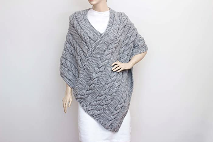 Amazon Knitted Poncho Cabled Poncho Chunky Knit Poncho Large