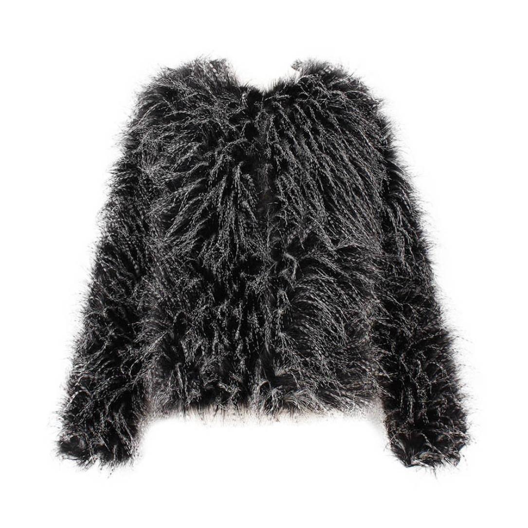 Ropa de abrigo Parka para Mujer Koly Moda De las mujeres Invierno Calentar Grueso Capa Chaqueta Terciopelo Piel sintética Pluma de avestruz Corto Abrigo Cárdigan